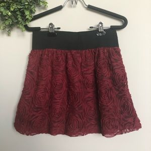 Stooshy red floral skirt with black waistband